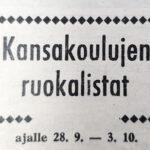 50 vuotta sitten: Kansakoulujen ruokalistat ajalle 28.9.-3.10.