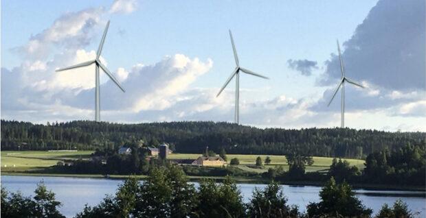 Havainnekuva, tuulivoimalat